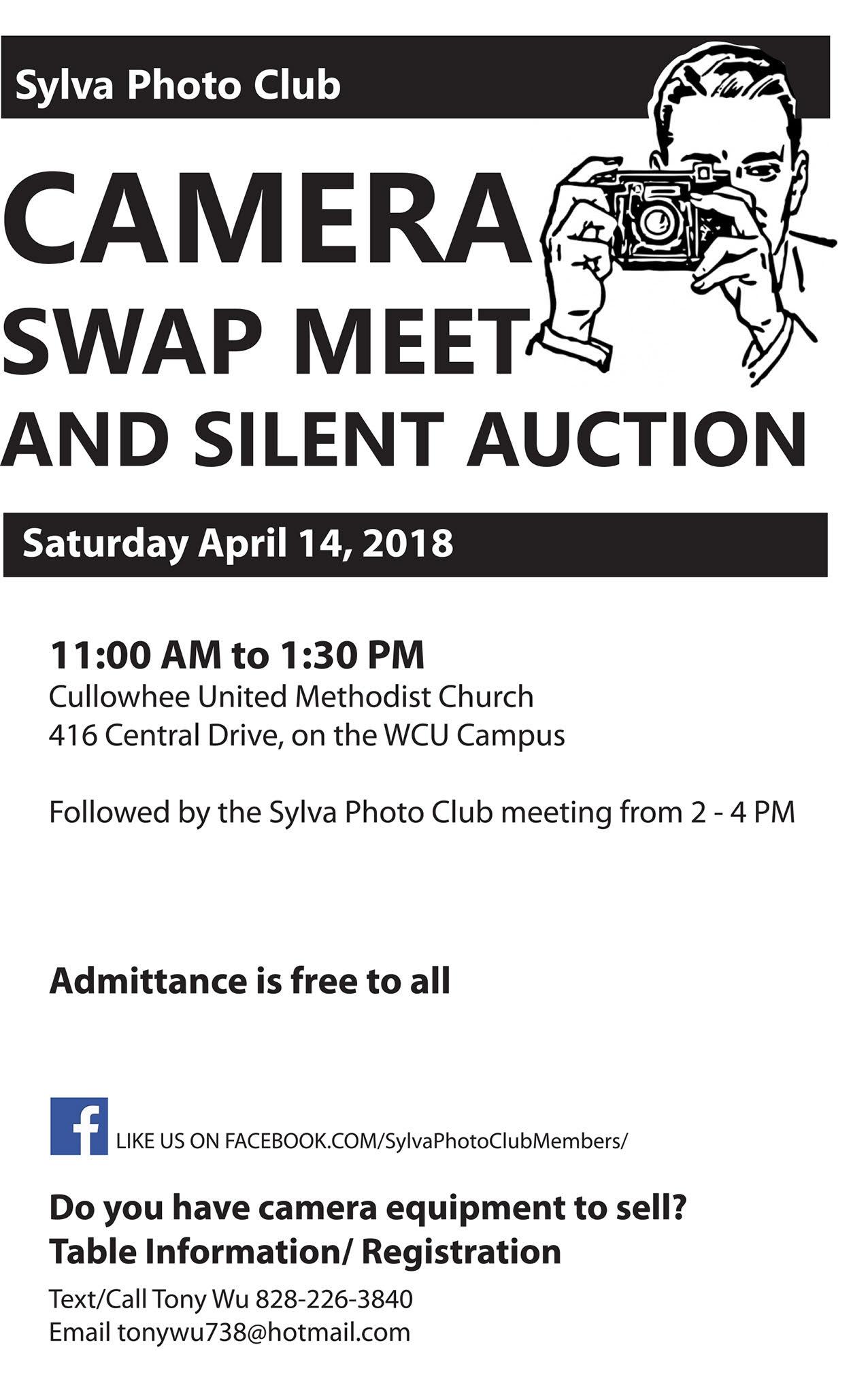 Swap Meet Information April 14, 2018   SylvaPhotoClub